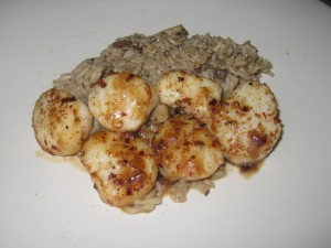 Seared Scallops w/ Mushroom Rice