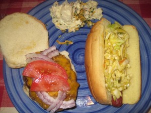 Hot Dogs with Jalapeno Mustard Cole Slaw