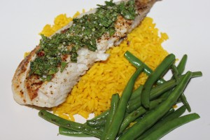 Seared Tilapia with Spicy Mint Gremolata