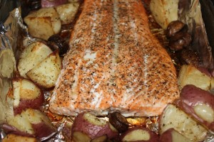 Roasted Salmon w/ mushrooms & potatoes